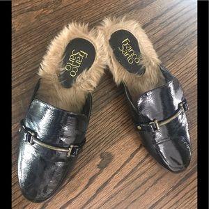 Black Fur Mules